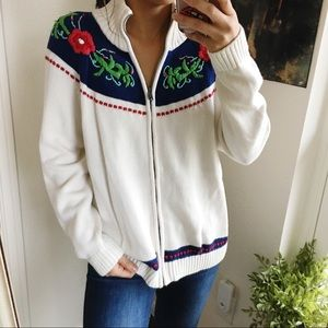Talbots holiday chunky knit zip up sweater